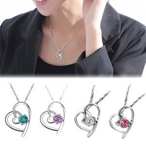 Jewelry - White Crystal Hollow Heart Pendant Silver Necklace